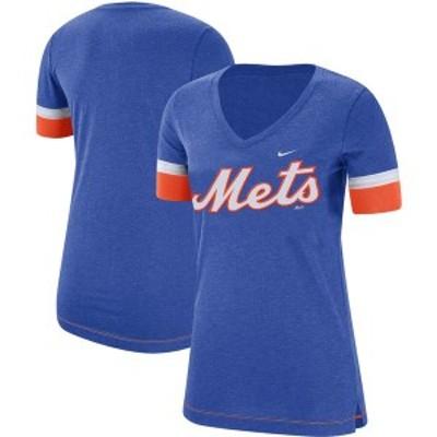 ナイキ レディース Tシャツ トップス New York Mets Nike Women's Mesh V-Neck T-Shirt Royal