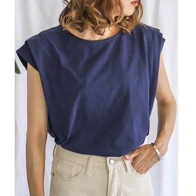 tシャツ Tシャツ 着心地抜群カリフォルニアコットン使用◆タックスリーブボックスシルエットラウンドネックTシャツカットソー