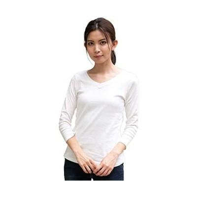 [アスペルシオ] Vネック 8分丈 コットン フライス Tシャツ レディース (ホワイト L)
