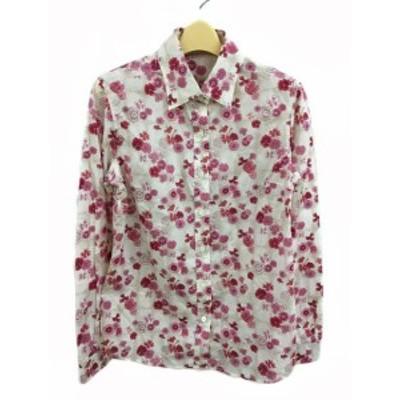 【中古】オールドイングランド OLD ENGLAND シャツ スタンダード 花柄 長袖 38 ピンク 白 ホワイト レディース