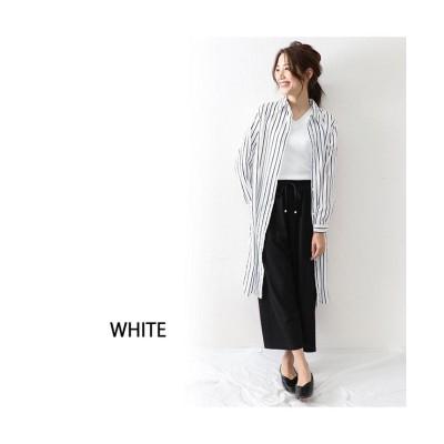 【オウンコード】 ストライプシャツワンピース イエロー レディース ホワイト M OWNCODE