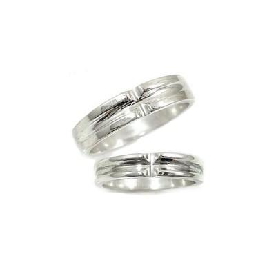 結婚指輪 ペアリング マリッジリング ホワイトゴールドk18 クロス 結婚式 18金 ストレート カップル メンズ レディース 送料無料