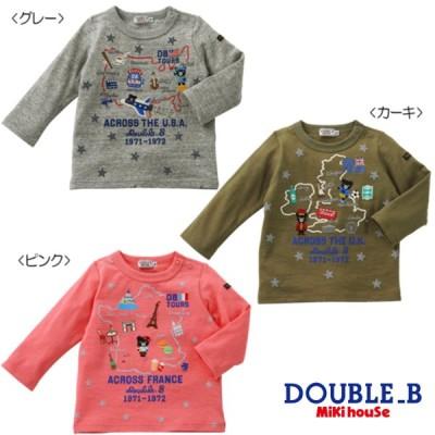 【セール30%OFF】【メール便OK】【DOUBLE B ダブルビー】USA & FRANCE & UKツアー長袖Tシャツ(80cm・90cm)ミキハウス