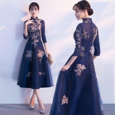 ミモレ丈 ドレス パーティードレス レディース 結婚式 ファスナータイプ ワンピース ウエディングドレス Aライン ドレス フォーマル