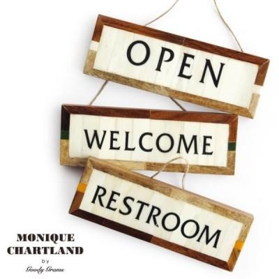 サインプレート SIGN PLATE MONIQUE CHARTLAND by GOODY GRAMS グッディーグラムス サイン プレート OPEN/WELCOME/RESTROOM 骨 木