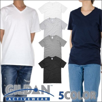 Vネック 半袖Tシャツ メンズ レディース 無地 ギルダン GILDAN  綿100% 4.5oz ソフトスタイル 大きいサイズ ホワイト 白 ブラック 黒 ネイビー