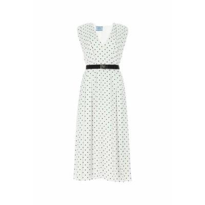 プラダ レディース ワンピース トップス Prada Polka Dot Printed Fluid Twill Dress -