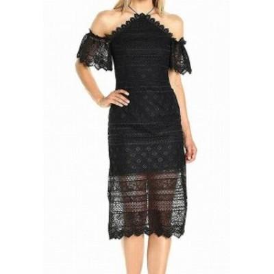 ファッション ドレス AMUR NEW Black Womens Size 4 Halter Off-Shoulder Lace Sheath Dress