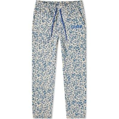 プレジャーズ PLEASURES メンズ スウェット・ジャージ ボトムス・パンツ eclipse cheetah beach pant Cream/Blue