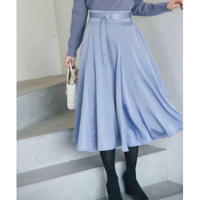 tocco closet / リングベルト付きサテンフレアスカート WOMEN スカート > スカート