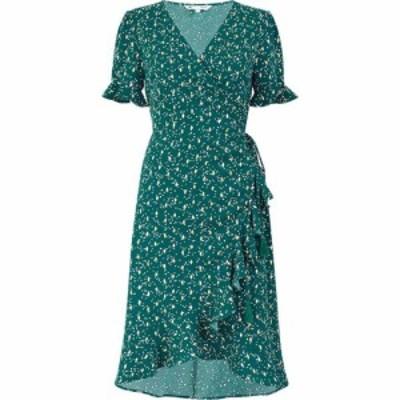 ユミ Yumi レディース ワンピース ラップドレス ワンピース・ドレス Green Foil Print Wrap Frill Dress Green Green