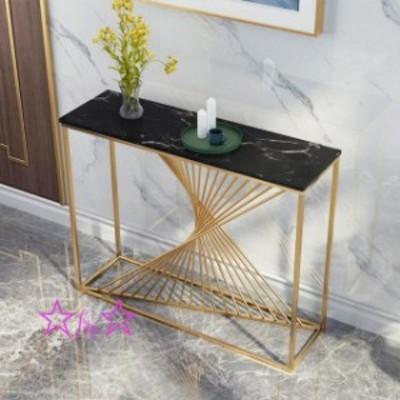 高級大理石サイドテーブル コンソールテーブル .玄関テーブル 花台 電話台 アンティーク調デザイン 高さ80cm