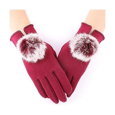 SLuB 手袋 綿 ラビットファー レディース スマホ手袋 タッチパネル対応 裏起毛 グローブ 女性 五本指 防寒 冷え