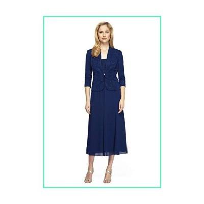 Alex Evenings Women's Long Length Blazer Jacket Dress (Petite and Regular), Electric Blue, 12P並行輸入品