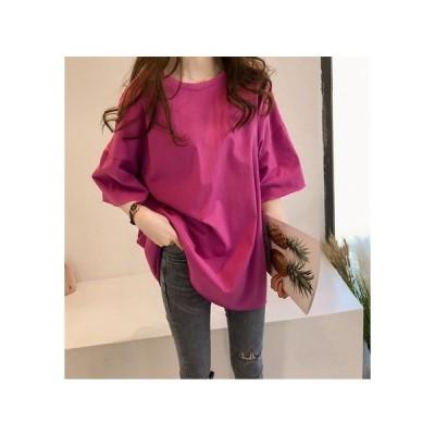 ビッグTシャツ  レディース半袖シャツ ブラウス 夏トップス ゆったり Tシャツ 大きい ゆるい ビックサイズ シンプル ナチュラル カジュアル  二枚送料無料