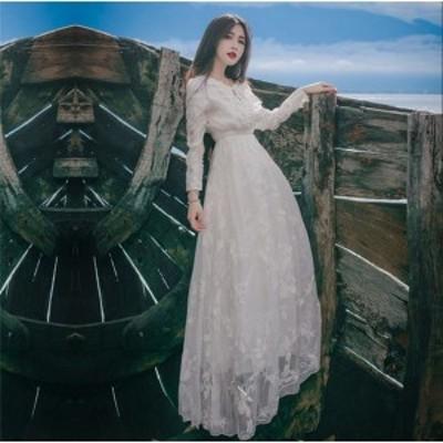 マキシ丈ワンピース マキシワンピ パーティードレス 結婚式 ドレス 二次会 結婚式ドレス レースワンピース リゾートワンピース