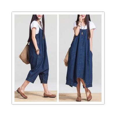 デニム サロペットスカート オールインワン ジャンパースカート ワンピース 大きいサイズ ミモレ丈 無地 カジュアル シンプル お出かけ ブルー 黒