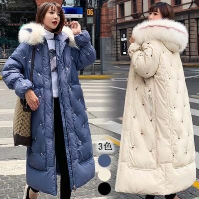 冬 アウター 中綿ジャケット ロング レディース ダウン 厚手 着痩せ 暖かい フート ゆったり きれいめ 大きいサイズ 韓国風 防寒