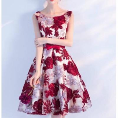 パーティードレス 大きいサイズ ワンピースドレス 膝丈 花柄 ノースリーブ シースルー リボン Aライン セクシー お呼ばれ 披露宴 成人式