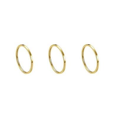 Kogl リング シンプル 指輪 幅1mm サージカルステンレス 316L (イエローゴールド,3個セット, 14号)  イエローゴールド,3個セット