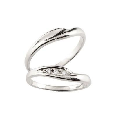 結婚指輪 安い 結婚指輪 ペアリング プラチナ ダイヤモンド V字 マリッジリング 結婚式 ウェーブリング ダイヤ カップル  プレゼント 女性 送料無料