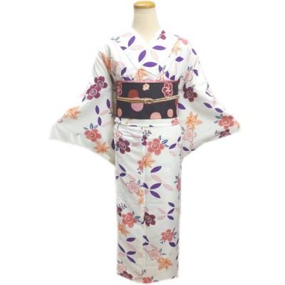 着物 袷 洗える 軽装帯 付け帯 セット オフホワイト白色地桜楓 M L