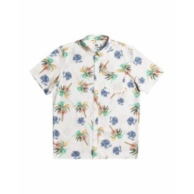 クイックシルバー メンズ シャツ トップス Men's Royal Palms Short Sleeve Shirt Snow White