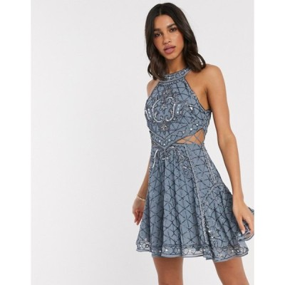 エイソス レディース ワンピース トップス ASOS DESIGN high neck mini dress with cut outs and godets in embellishment