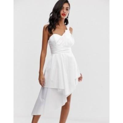 エイソス レディース ワンピース トップス ASOS DESIGN mini prom dress in cotton sateen White