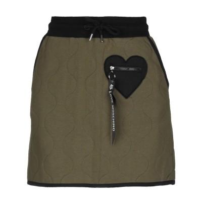 ラブ モスキーノ LOVE MOSCHINO ミニスカート ミリタリーグリーン 40 コットン 92% / ポリウレタン 8% ミニスカート