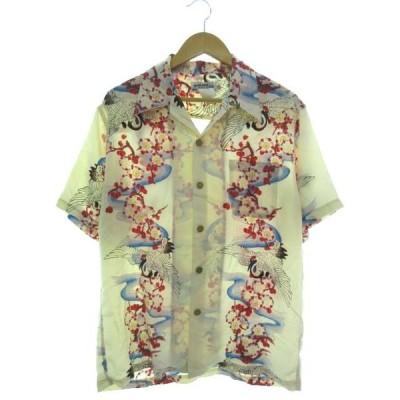 【中古】マカナレイ MAKANA LEI アロハシャツ 半袖 トップス 鶴 シルク アイボリー L メンズ 【ベクトル 古着】