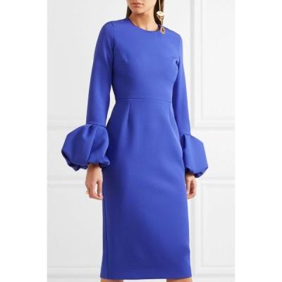 ワンピース 海外セレクション ROKSANDA Satin Trimmed Crepe Midi Dress Royal Blue UK 8 10 US 4 6