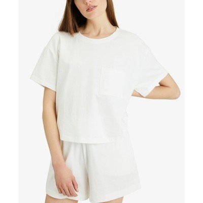 サンクチュアリー カットソー トップス レディース Dropped-Shoulder Cotton T-Shirt White