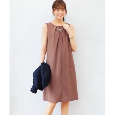 【大きいサイズ】 前開きサックワンピース(アクセサリー付) ワンピース, plus size dress