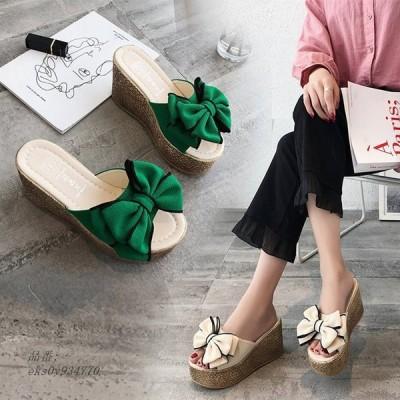 サンダル レディース 厚底 ウエッジソール リボン グリーン ブラック スリッパ 可愛い 軽量 ベージュ 履きやすいおしゃれ 歩きやすい
