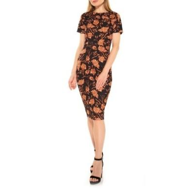 アレクシアアドマー レディース ワンピース トップス Scuba Floral Print Midi Sheath Dress BLACK/CARAMEL