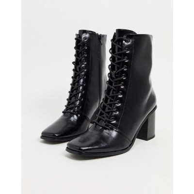 エイソス ASOS DESIGN レディース ブーツ スクエアトゥ レースアップブーツ シューズ・靴 Rylee square toe lace up boots in black ブラック