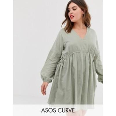 エイソス レディース ワンピース トップス ASOS DESIGN Curve v front v back mini smock dress in texture with long sleeves Khaki