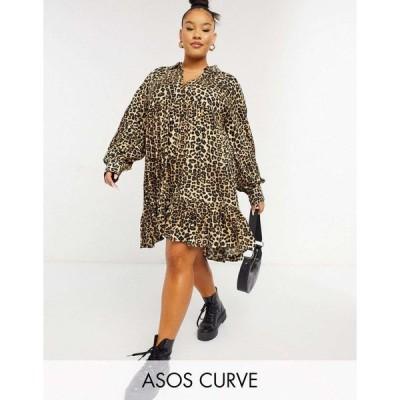 エイソス ドレス 大きいサイズ レディース ASOS DESIGN Curve trapeze mini shirt dress with pephem in animal print エイソス ASOS