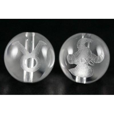 天然石 ビーズ【彫刻ビーズ】水晶 12mm (素彫り) 12星座「牡牛座」 パワーストーン