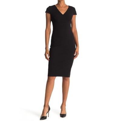 ドナモーガン レディース ワンピース トップス Cap Sleeve Fitted Crepe Dress BLACK