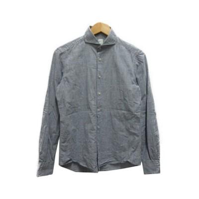 【中古】チットラグジュアリー Cit Luxury シャツ グレンチェック ワイドカラー 長袖 XS ライトグレー メンズ 【ベクトル 古着】