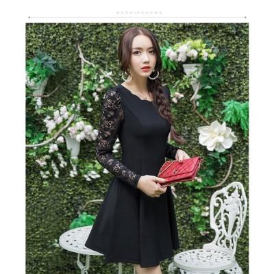パーティードレス レディース 長袖 結婚式 お呼ばれ 二次会 ワンピース ドレス パーティドレス 服 体型カバー 大きいサイズ 20代 30代 40代 大人女子 M〜6L