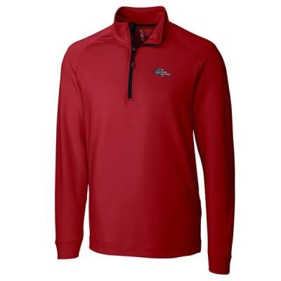 デンバー・ブロンコス Cutter & Buck Americana Jackson Knit Quarter-Zip Pullover ジャケット - Red