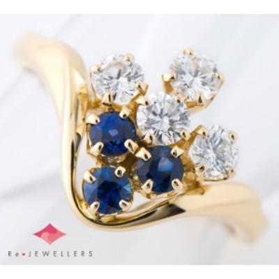 ミキモト ブルーサファイア計0.33ct ダイヤモンド 計0.40ct 18金イエローゴールド 10号 リング・指輪【中古】