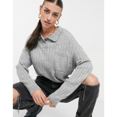 エイソス レディース ニット・セーター アウター ASOS DESIGN oversized rugby style sweater with collar detail and pocket in gray Gr