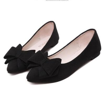 レディース フラット シューズ パンプス ローヒール ペタンコ 靴 歩きやすい リボン