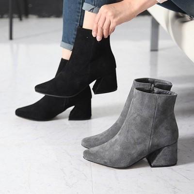 ブーティ ブーティー チャンキーヒール スエード調 シンプル ブーティ レディース ファッション レディース 靴 婦人靴 30代 40代