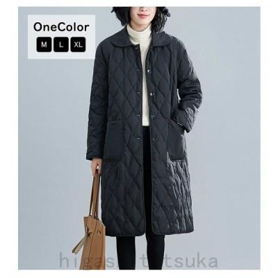 コート中綿コートロング丈キルティングジャケットステンカラーアウター羽織り無地防寒