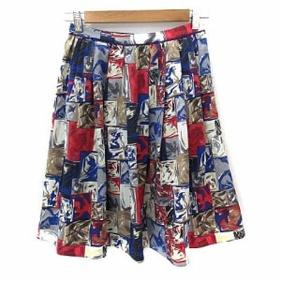 【中古】リリーブラウン Lily Brown スカート フレア ひざ丈 総柄 マルチカラー 1 青 ブルー 赤 レッド レディース